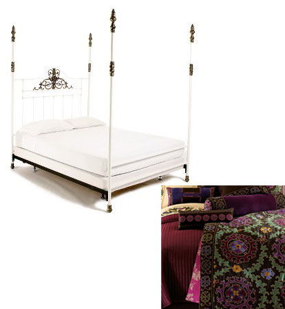 A feminine Anthropologie Four-Poster Bed ($949.95) gets a worldly update with Natori Silk Suzani Linens ($699.99).