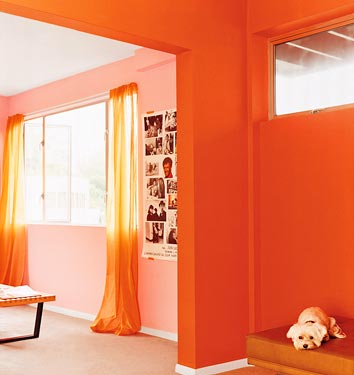 The bold of heart and color palette can try painting an entry bright, brilliant orange. This color is Benjamin Moore Jeweled Peach. Source
