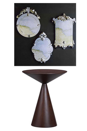 Your entry will get a modern update with the Ully Low Pedestal Table ($269), which mimics the shape of an African drum. The table is the perfect counterpart to old-school elegant Roost Venetian Mirrors ($590).