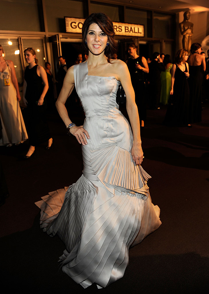 Marisa Tomei's Versace gown is flush with architectural pleats.