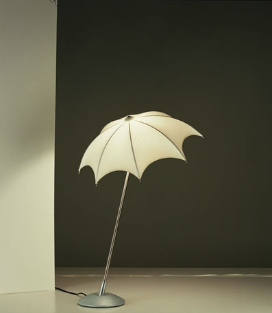 The Pablo Umbrella lamp ($120-220) is a surreal floor lamp with a washable Lycra shade designed to resemble a real umbrella.