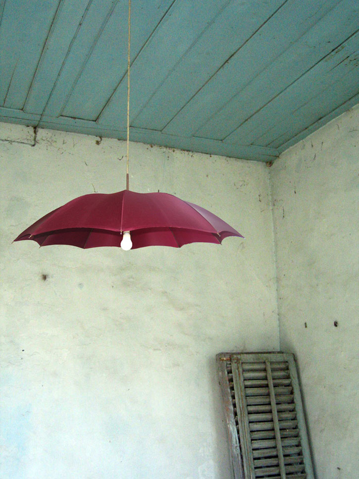 British industrial designer Constantinos Economides created this umbrella lampshade as a way of assessing how redundant objects are used, and expanding their life expectancy. Source
