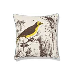 The Wide World Pillow ($128) features a 19th-century field-guide-type design on a linen pillow.