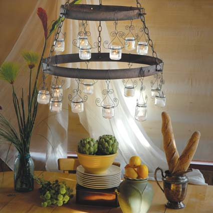 Natural Home made this chandelier out of baby food jars.