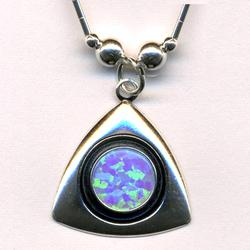 Large Opal Silver Triangle Necklace ($22)
