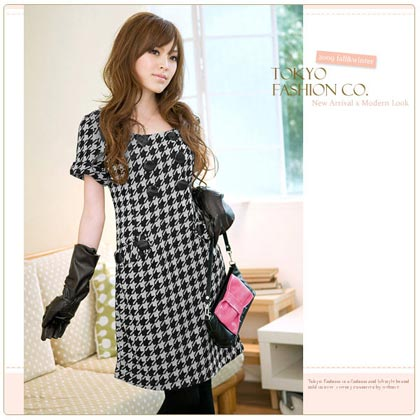 Button Houndstooth Dress
