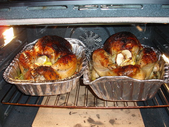 Two herb-brined turkeys.