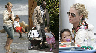 Heidi & Seal Bring Their Puppies to the Beach