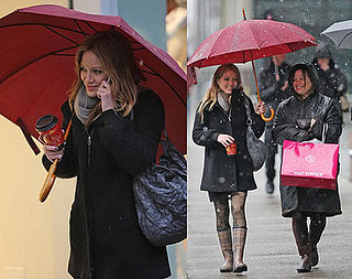 Hilary Puts Her Rain Gear to Work