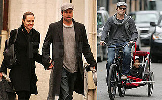 Brad Pitt, Angelina Jolie, Maddox and Pax in New Orleans