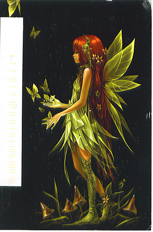 Rate this postcard: Green Fairy with Nymphe on her shoulder