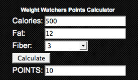 Weight Watchers Points Calculator Online