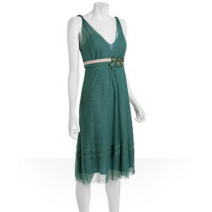Nicole - Vera Wang jade mesh belted v-neck dress