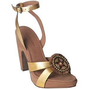BCBGMAXAZRIA gold beaded &#039;Alhambra&#039; platform sandals