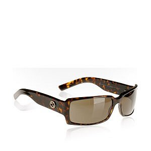 Bluefly  Gucci havana tortoise rectangular plastic sunglasses