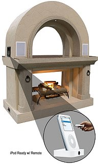 Fireplace with Built-In iPod Speakers