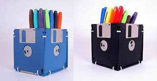 Totally Geeky or Geek Chic? Floppy Disk Pencil Holder