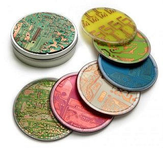 Totally Geeky or Geek Chic? Circuitboard Coasters
