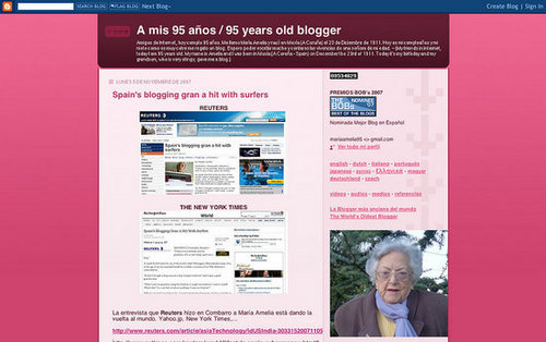 Ninety-Five Year Old Amelia Lopez Gets Her Blog on