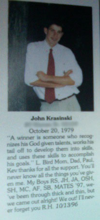 John Krasinski&#039;s High School Yearbook Senior Photo