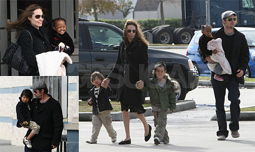 Jolie-Pitts' NoLa Waterhorse Family Movie Date, Aww!