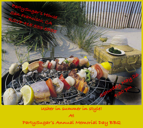 Come Party With Me: Memorial Day BBQ - Invites