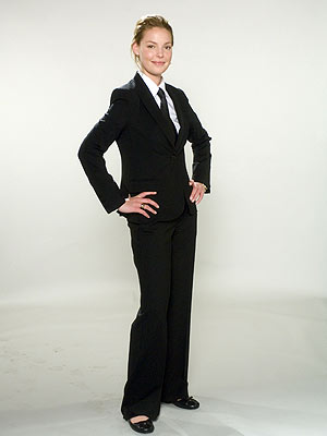 WELL SUITED Heigl balances masculine and feminine in this Greta Garbo-inspired Theory suit.