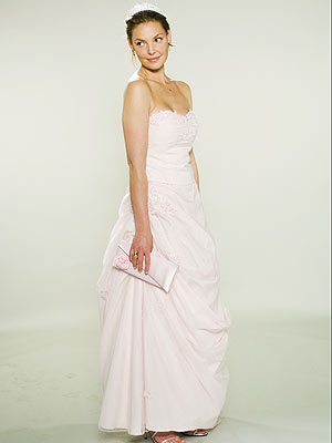 CHILDHOOD FANTASY This beaded blush dress with a diamond tiara was another look that reminded Thomas of a little girl's wedding