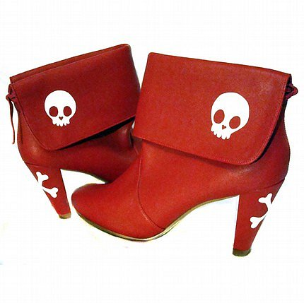 Miss Bunny Red Skull Booties.
