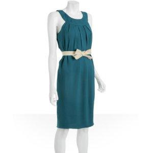 Vera Wang teal crepe pleated tulip 