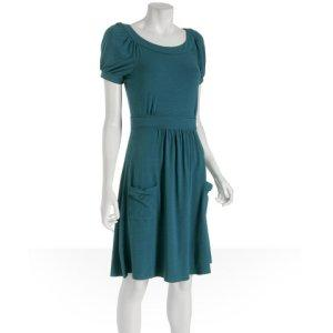 Elie Tahari teal stretch jersey &#039;Genna&#039; pocket dress