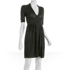 Romeo &amp; Juliet Couture charcoal wool blend v-neck pleated dress