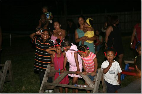 The kids at the fireworks blockade