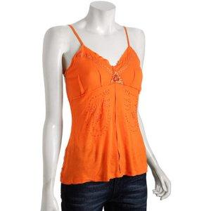 Tangerine: Bluefly Da - Nang bright orange embellished v-neck tank