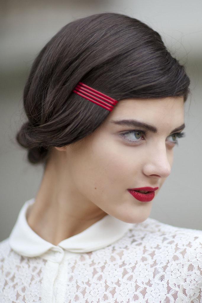 paris, fashion week, vintage, red lipstick, minimal makeup,