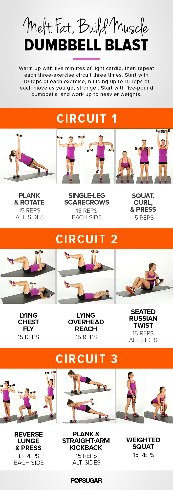 photo relating to Printable Workouts Routines identified as Printable Exercise: Total-overall body, Dumbbell Circuit POPSUGAR